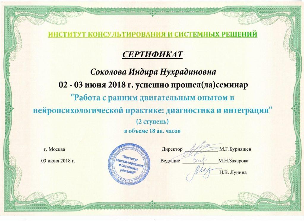 Сертификат нейропсихология (ранний двигательный опыт)